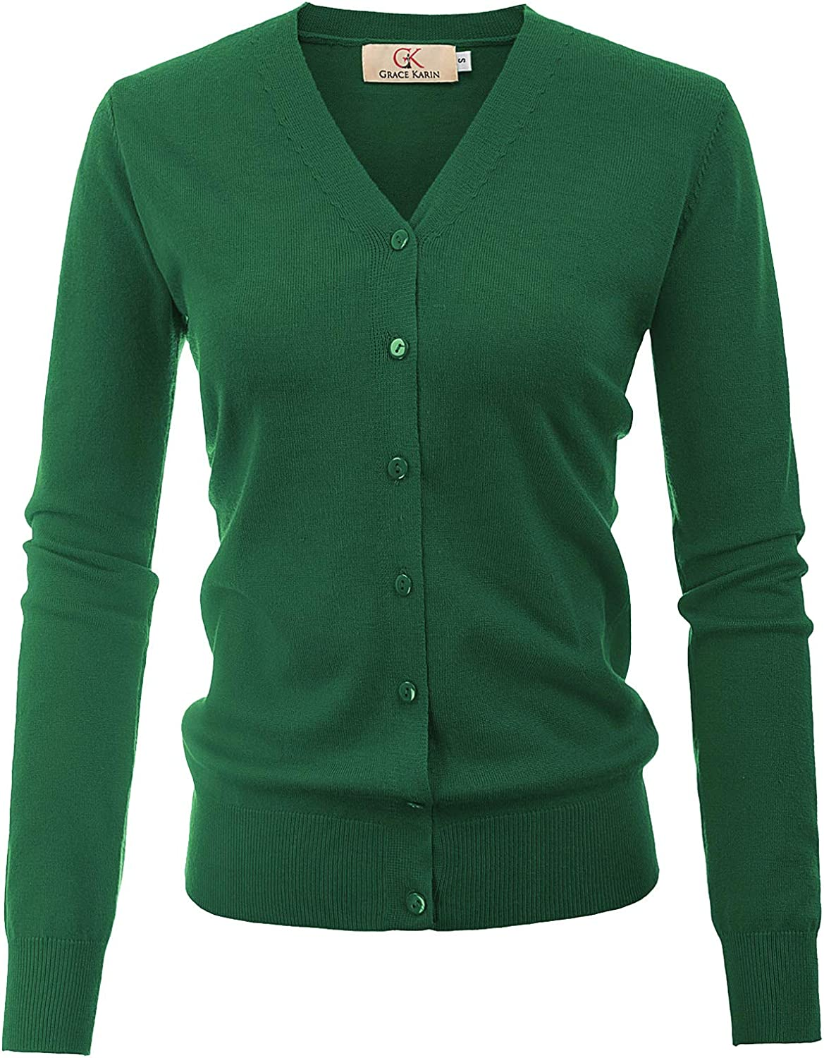 Coolred-Men Fit V Neck Long-Sleeve Solid Color Button Down Sweater Outwear