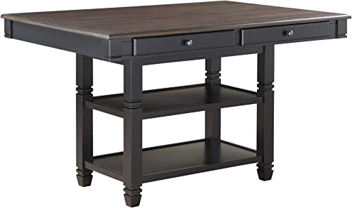 Homelegance 60 x 42 Two-Tone Counter Height Dining Table, Black Natural