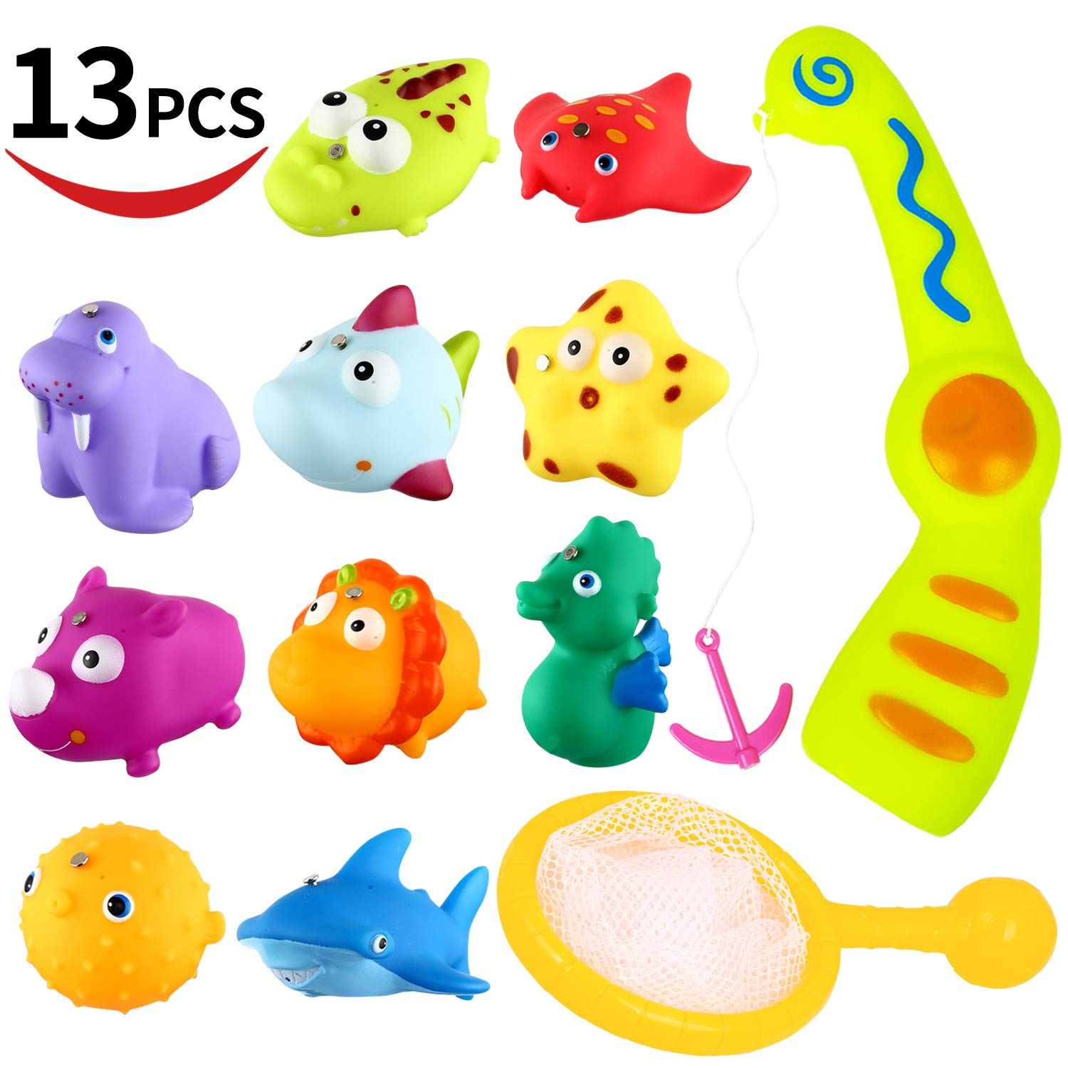 Bath Toy,13 Pcs Magnetic Fishing Game and Floating Squirt Water Toys With Organizer Bag for boys girls, Education Toy for Children, Toddlers, Kids Bathroom Bathtub Bathtime Swimming Pool Party Favors