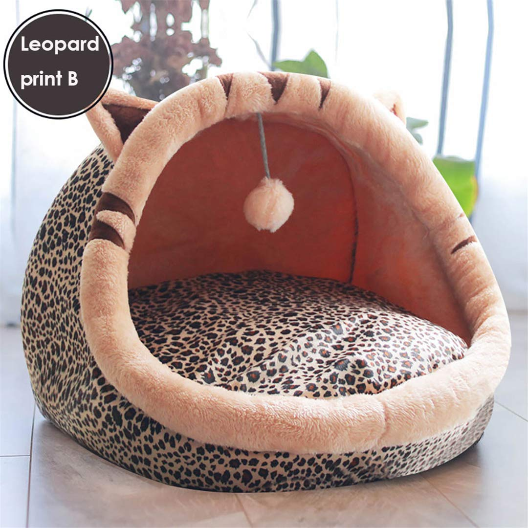 Leopard print B S- within 2.5kg Pet Leopard print B S- within 2.5kg Pet House for Small Dog Cat Sleeping Kennel Soft Pet Cats Bed Nest Washable Dogs Mat Pets House Bed