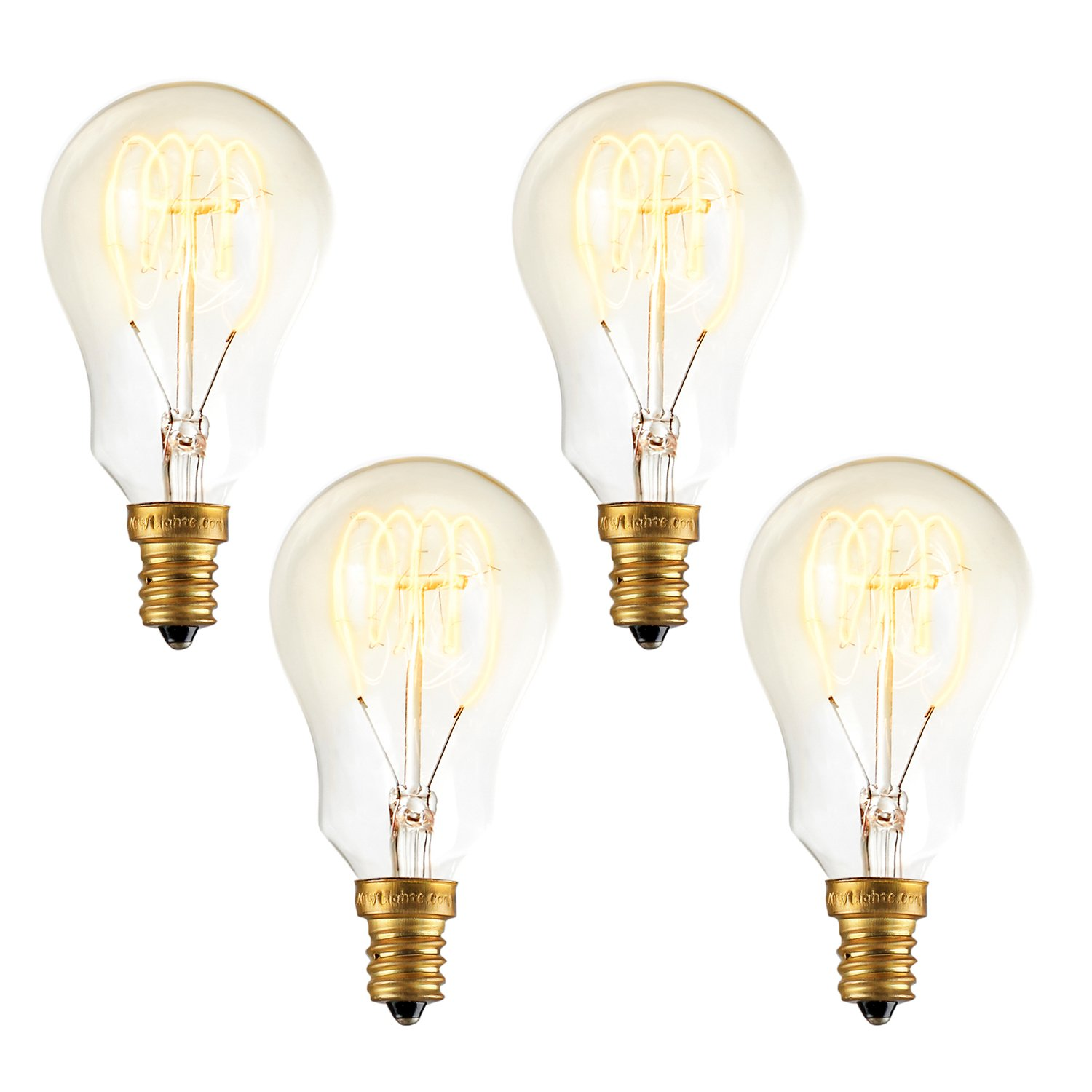 Candelabra Edison A15 Vintage Bulbs, Fully Dimmable, 40W (E12 Socket), Warm White Glow, Spiral Filament, Mini Coney Island Design by Brooklyn Bulb Co - Set of 4 by Brooklyn Bulb Co.