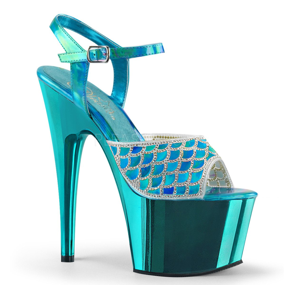 Women's Turquoise Hologram Rinestone Scale Design Chrome Platform Sandals - DeluxeAdultCostumes.com
