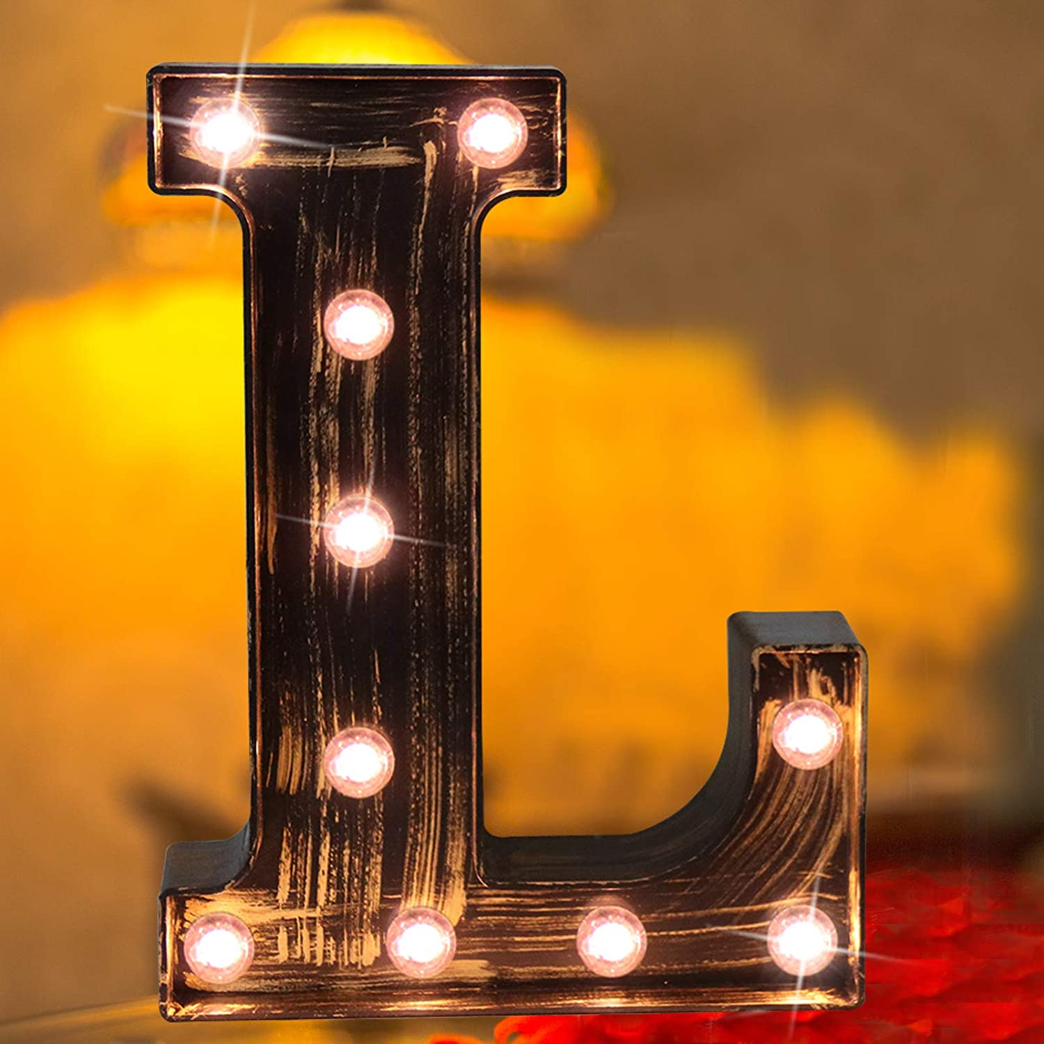 Elnsivo Vintage LED Marquee Letter Lights Light Up Industrial 26 Alphabet Name Signs Bar Cafe Initials Decor for Birthday Party Christmas Wedding Events(Letter L)