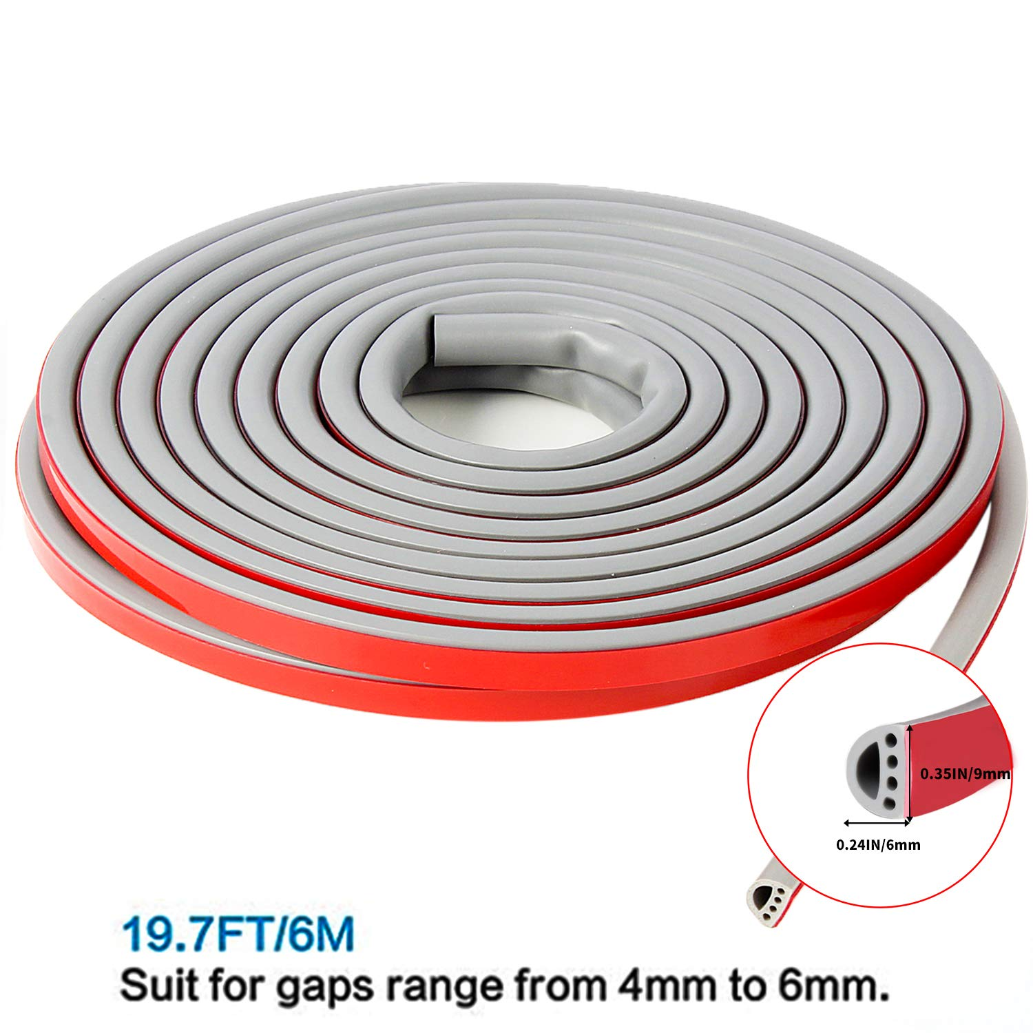 White,6M Qishare Silicone Rubber Weather Strip Multi-Hole Design Seal Strip for Doors and Windows Professional Self-Adhesive Anti-Collision Ageing-Resistant Soundproof Waterproof Dustproof Windproof