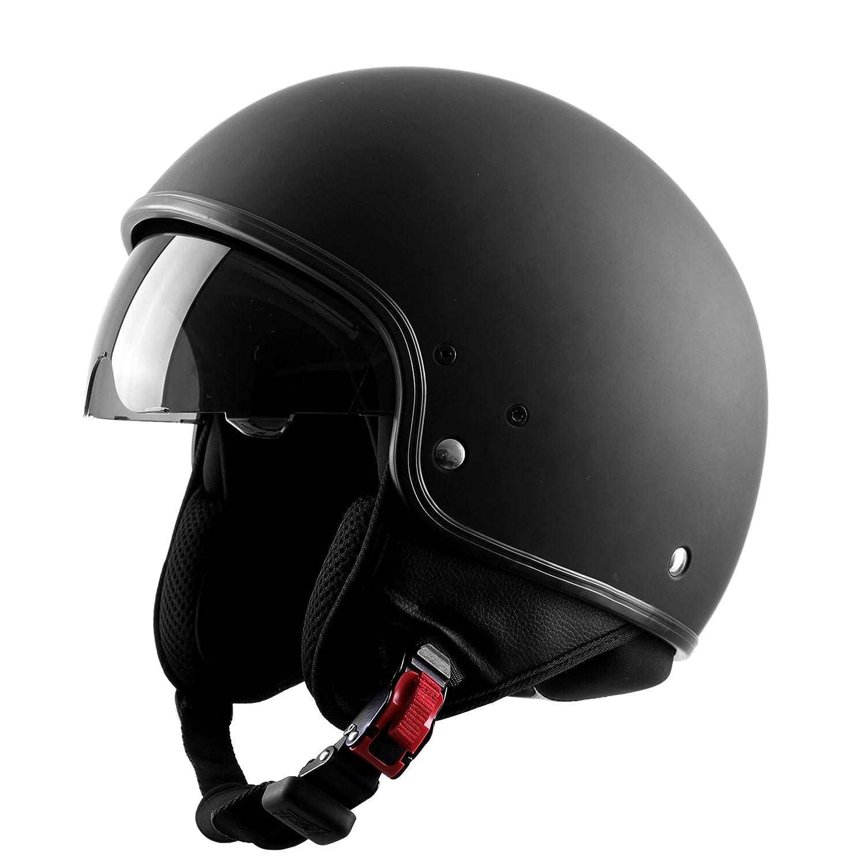Retro Stil Westt Vintage Jethelm Motorradhelm Helm ECE Zertifiziert Matt Schwarz