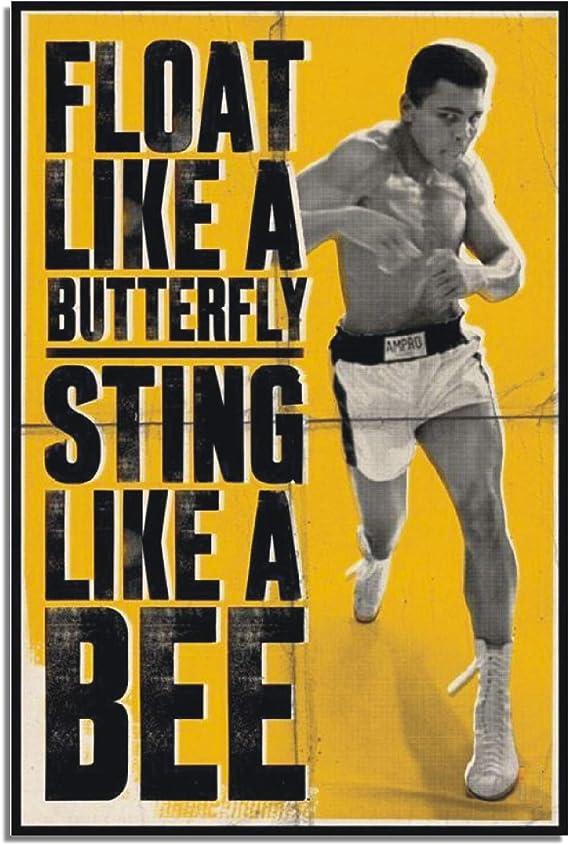Muhammad Ali Poster en aluminium M/étal Plaque de Porte Murale Boxe Papillon Cassius Argile Sting Bee