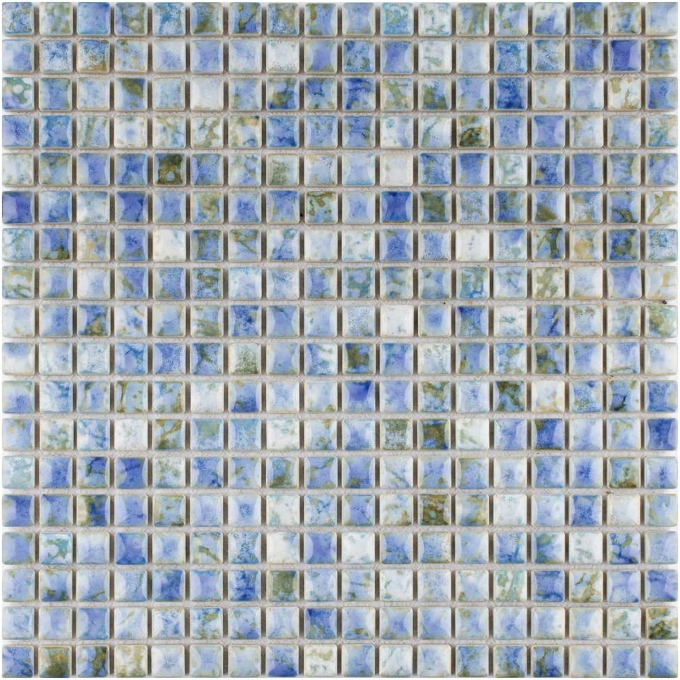 Cream//Beige//Brown//Blue//Green 12 x 12 SomerTile FCP96RNP Arcadia Porcelain Floor and Wall Tile