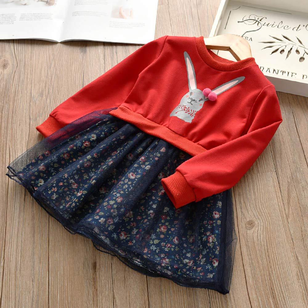 Cealu 2-6Years Toddler Kids Baby Girl Sweatshirt Floral Princess Dress Outfit Cartoon Bunny Mesh Tutu Skirt Patchwork Dress