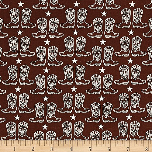Riley Blake Cowgirl Boots Brown Fabric By The - Cowgirl Fabric