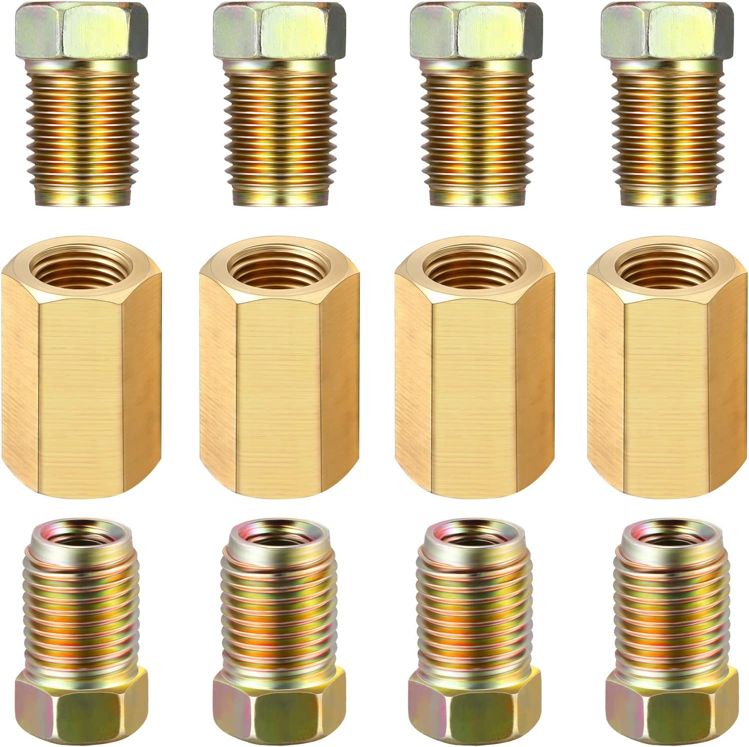 A-Team Performance 12 Pieces 3//8 Inch-24 Threads Brake Line Fittings Assortment for 3//16 Inch Tube 4 Unions, 8 Nuts