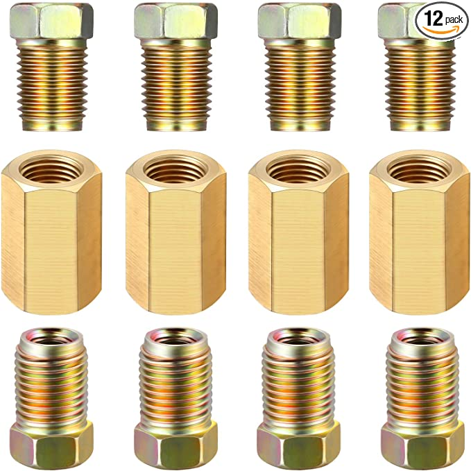 12 Pieces 3/8 Inch-24 Threads Brake Line Fittings Assortment for 3/16 Inch Tube (4 Unions, 8 Nuts)