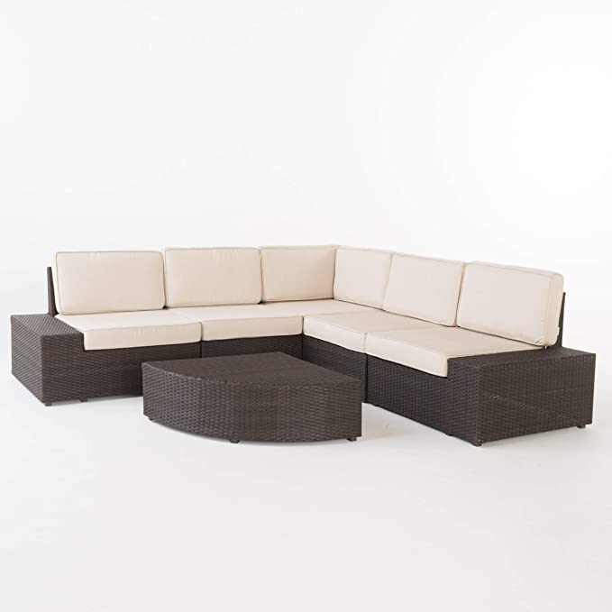 Christopher Knight Home Santa Cruz Outdoor Wicker Sectional Sofa Set With Water Resistant Cushions 6 Pcs Set Brown Garden Outdoor Amazon Com