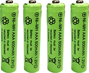 Ni-mh AAA 600mAh 1.2V Triple A Rechargeable Batteries for Outdoor Garden Solar Light Lamp 4Pcs