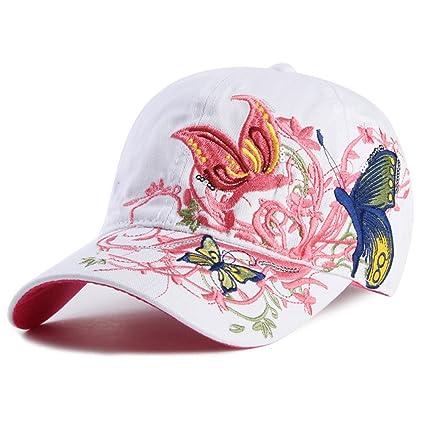 NONGNIML Gorras de béisbol Butterflies y Flores de algodón Bordado Gorras Sombreros Casuales Cap Snapback para