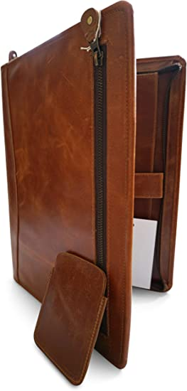 A6 Zipped Leather Conference Folder Business Document Bag Portfolio Brown