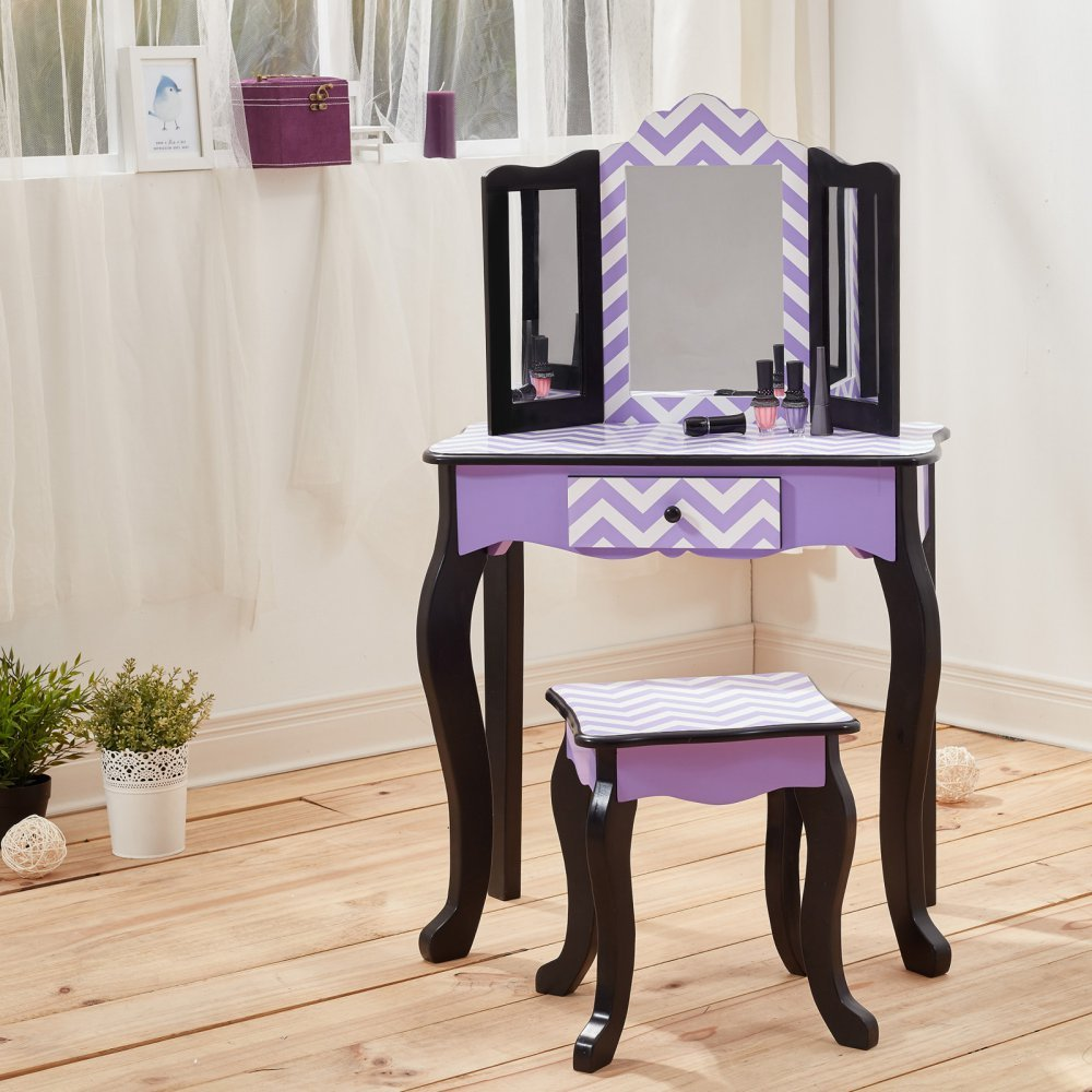 Fashion Prints Teamson Kids-Gravures de Mode Chevron Table et Tabouret - Bois - Noir-Violet - 59 -69 x 29 -21 x 97 -79 cm