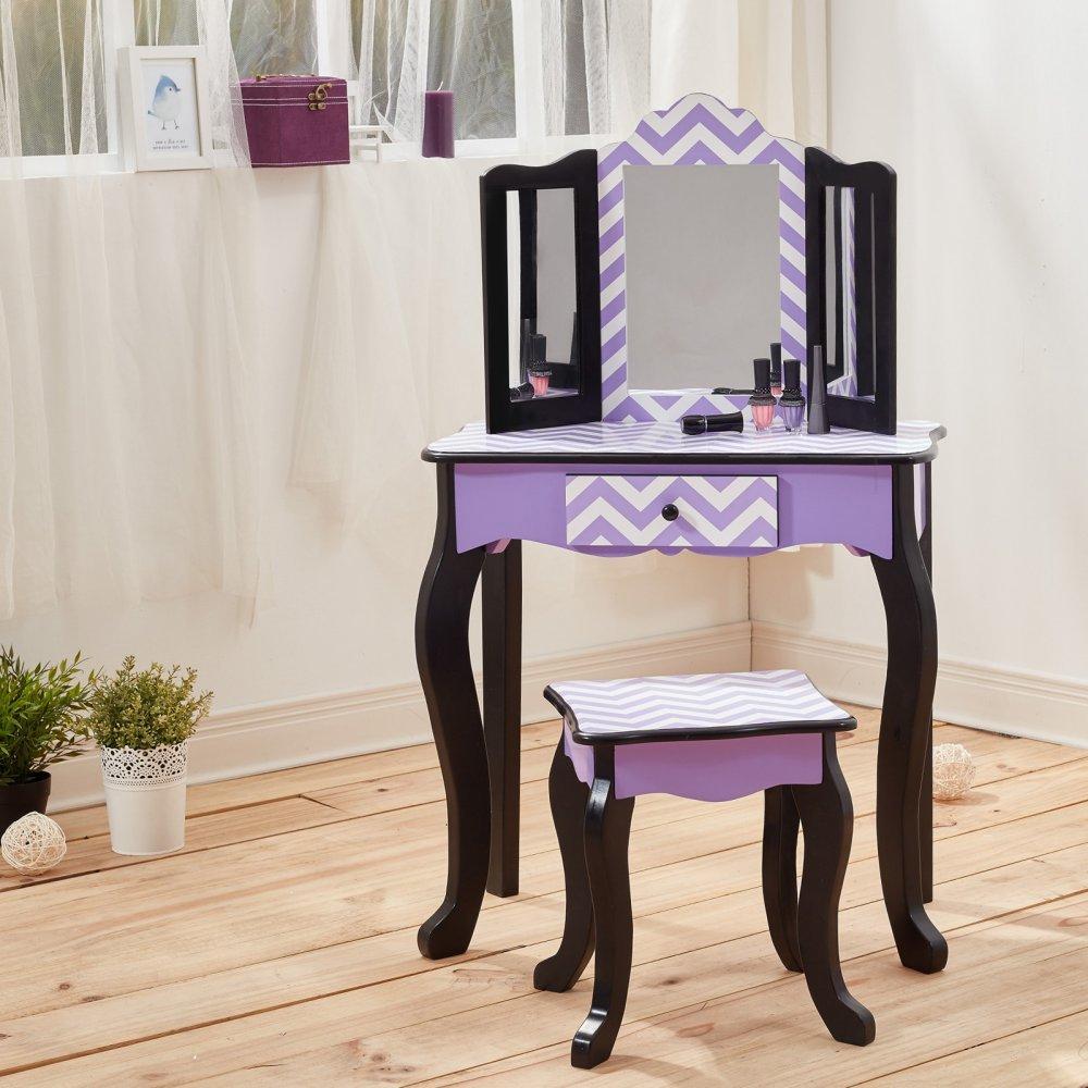 Kids Vanity Table Wooden Fashion Girls Furniture Stool Set