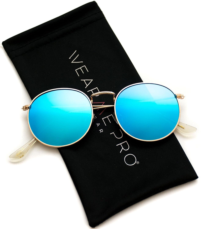 ad787749255 Amazon.com  WearMe Pro - Reflective Lens Round Trendy Sunglasses  Clothing