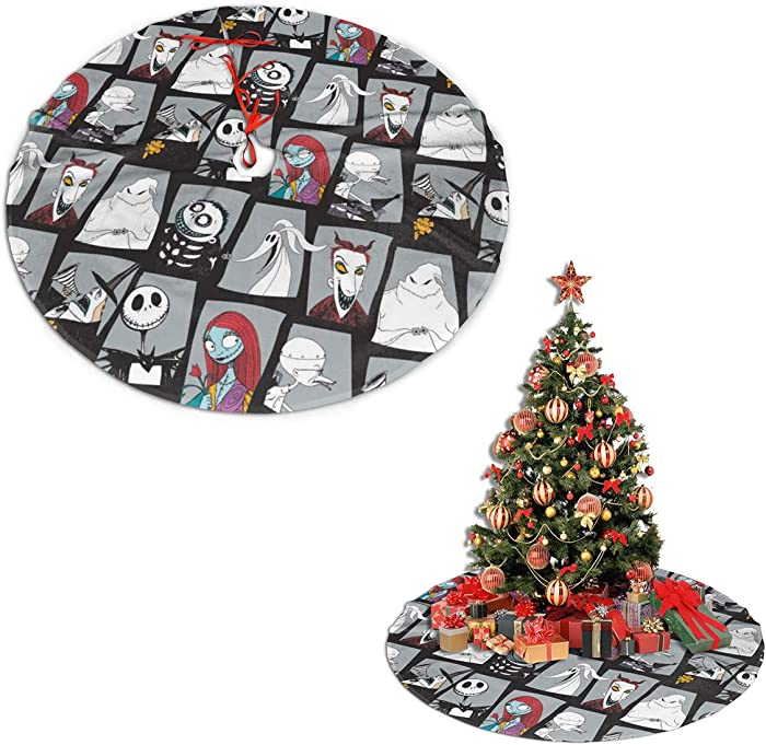 Vividuke The Nightmare Before Christmas Christmas Tree Skirts Plaid Soft Light Easy to Put in Home Office Livingroom for Xmas Decor Indoor Outdoor Ornaments Gifts 30 inches
