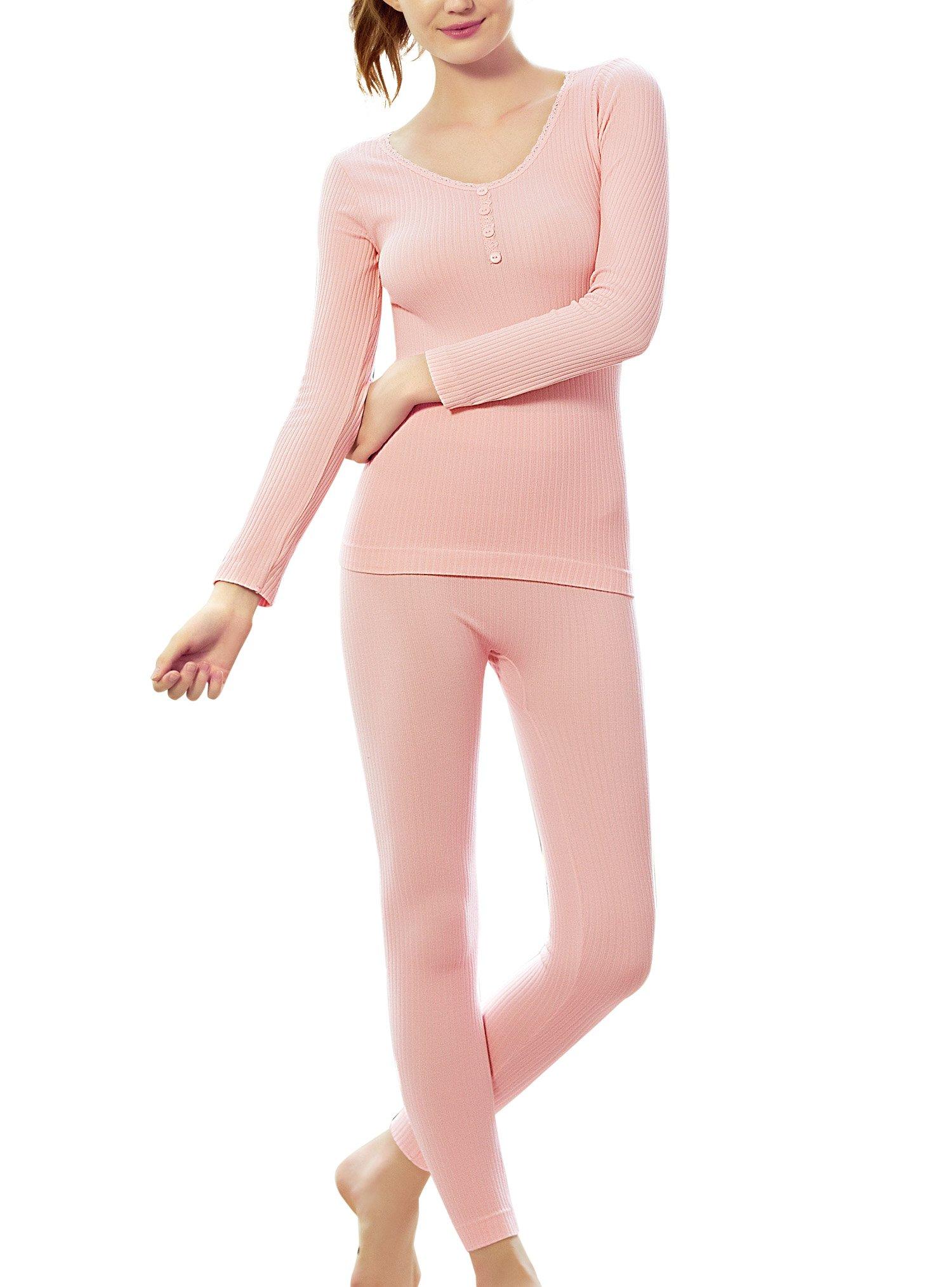 Moonbasa梦芭莎 Womens Long Johns Thermal Set Underwear Bottoms Fleece LinedWinter Base Layering Set (L, Peach Red)
