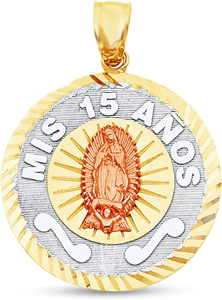 14k Tri-color Gold Religious Virgin Mary Charm Pendant 20mm x 15mm