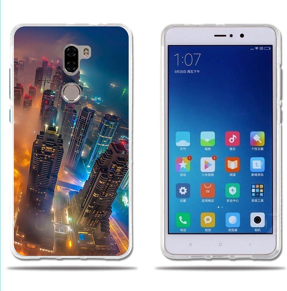 FUBAODA Funda para Xiaomi Mi5S Plus Carcasa Protectora de Silicona (Skyscrapers) de la Ciudad, Carcasa Completamente Resistente para el para Xiaomi Mi5S Plus