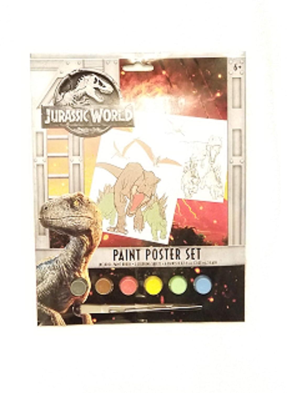 革新的なデザインの水彩絵の具セット。ジュラシックワールド。内容: 塗り絵シート2枚 ~ 水性塗料6枚 ~ ペイントブラシ1本。 B07J5RJJSB