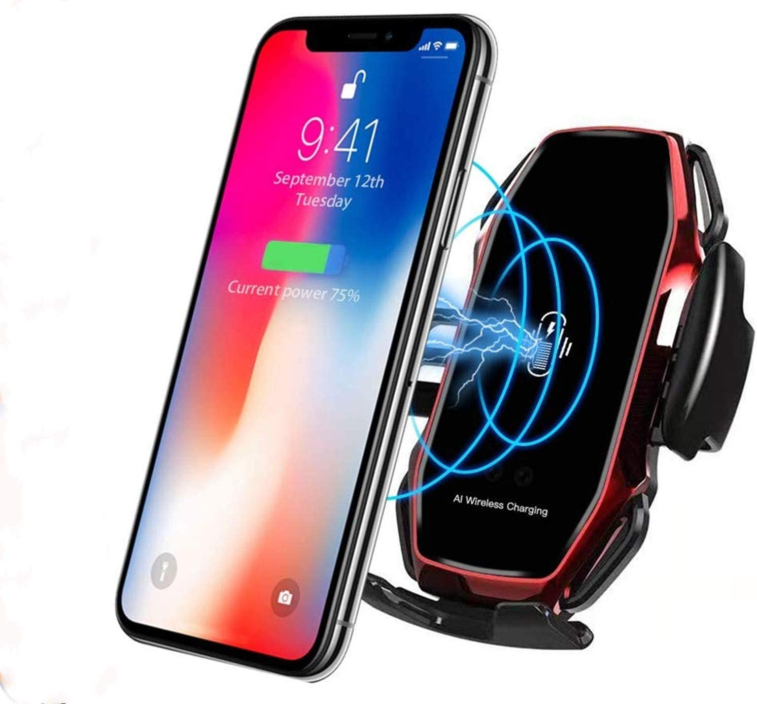 Wireless Fast Car Charger10W for Android iOS Smartphone Mobile Phone Fast Charging with Smart Sensor Car Mount Fast Charger for iPhone Xs Max/XR/X/8/8Plus Samsung S10/S9/S8-Red