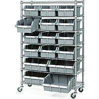 Seville Classics Comercial 7-Shelf 16-Bin Sistema de Rack de Almacenamiento, Certificado NSF