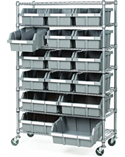 Seville Classics Commercial 7 Tier Platinum/Gray NSF 16 Bin Rack Storage  System