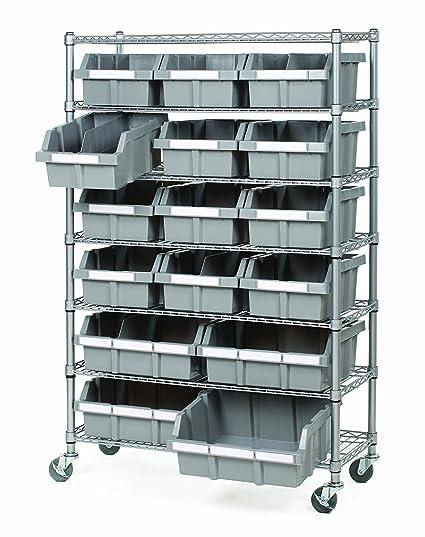 Seville Classics Commercial 7 Tier Platinum Gray Nsf 16 Bin Rack Storage System