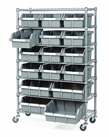 Amazon.com Seville Classics Commercial 7-Tier Platinum/Gray NSF 16-Bin Rack Storage System Kitchen u0026 Dining  sc 1 st  Amazon.com & Amazon.com: Seville Classics Commercial 7-Tier Platinum/Gray NSF 16 ...