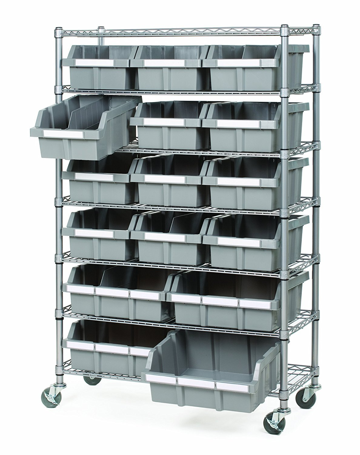 Seville Classics Commercial 7-Tier Platinum/Gray NSF 16-Bin Rack Storage System by Seville Classics