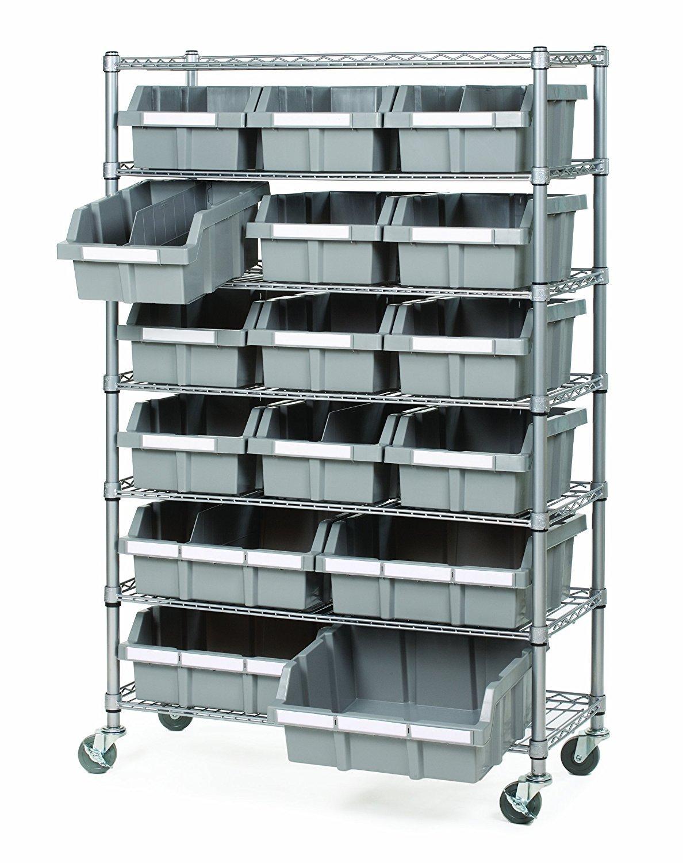 Seville Classics Commercial 7-Tier Platinum/Gray NSF 16-Bin Rack Storage System