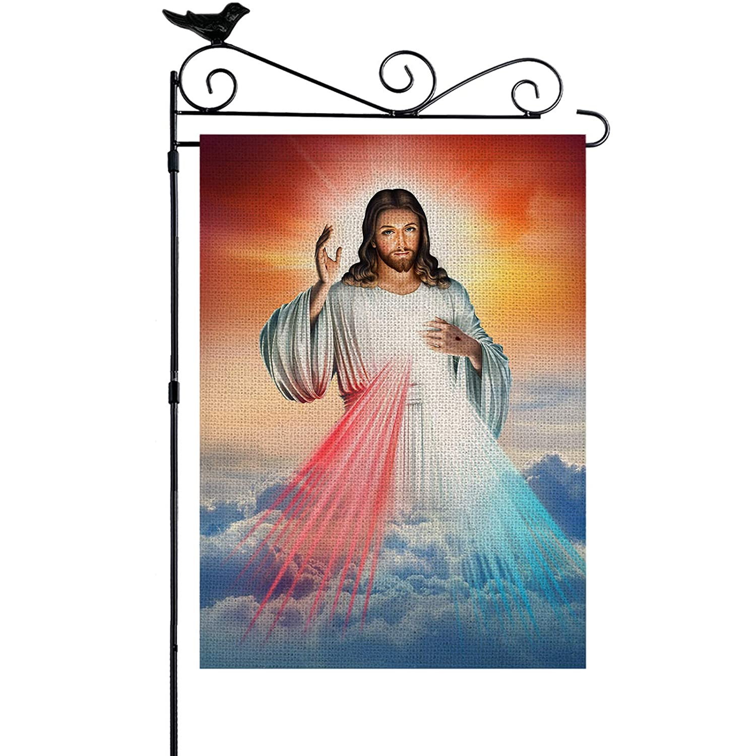 YISHOW Divine Mercy Of Jesus God Of Christian Garden Flag Double Sided Vertical House Banner Home Burlap Flags Welcome Yard Signs Outdoor Decor 12.5