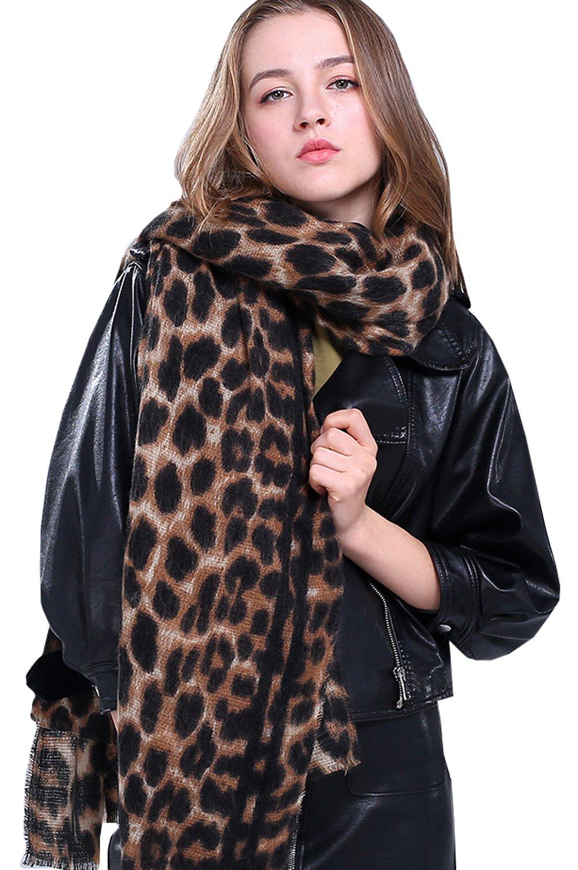Women Winter Leopard Scarf Cashmere Feel Pashmina Shawls And Wraps Fashion Scarf
