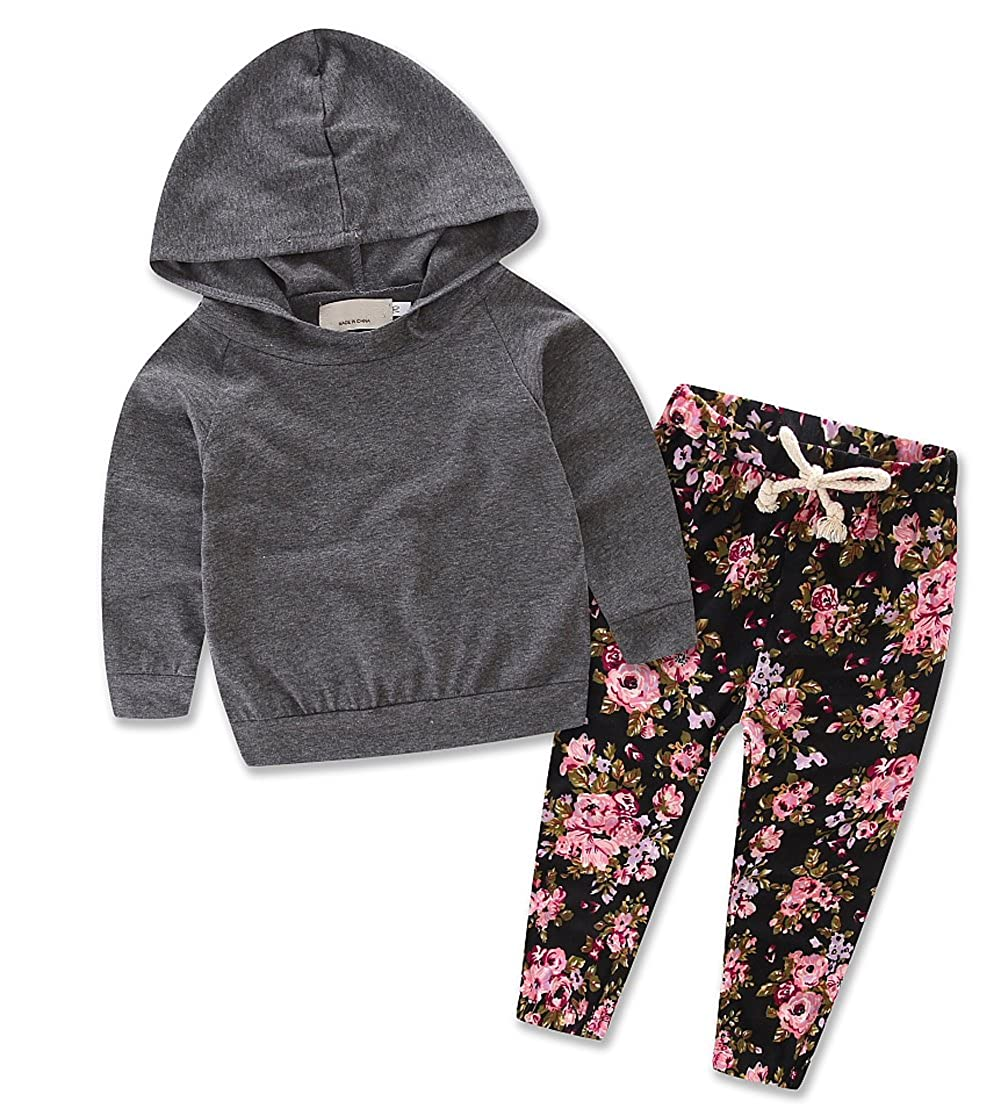 Baby Girls Floral Hoodie Top + Floral Pant Leggings 2 Piece Outfits Set