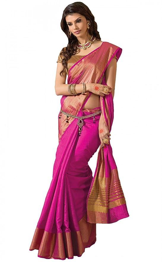 64f33228a72 Amazon.com  Shree Designer Sarees Women s Kanchipuram Silk Pink Saree with  Double Blouse  Clothing