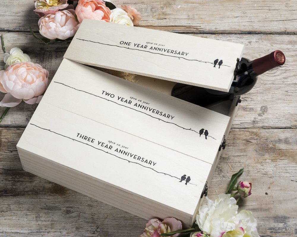 Twine Boulevard Newlywed's Anniversary Wooden Wine Box by 3 Bottle Gift Box