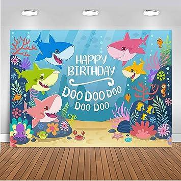 7X5ft Cartoon Cute Baby Shark Family Doo Doo Doo Theme Backdrops Undersea Animals World Blue Backdrops Child Kids Baby Shower Birthday Party Photography Background Studio Props Booth Photoshoot Props
