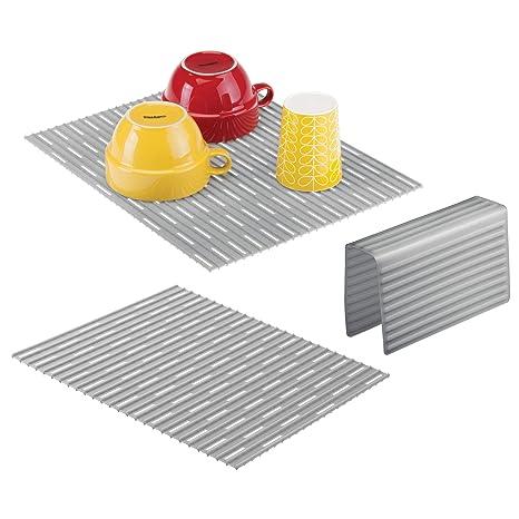 mDesign Set da 3 Tappetini per lavello cucina - Tre accessori cucina ...