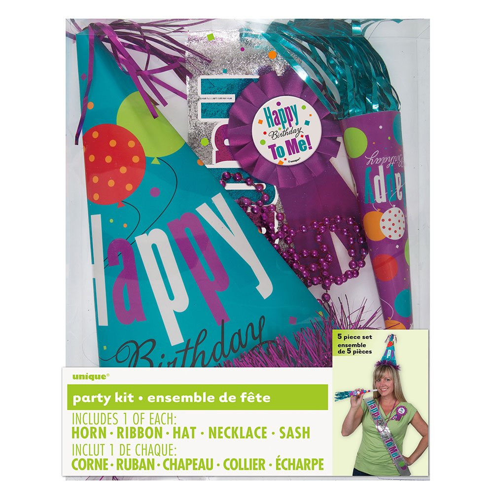 Purple Birthday Party Accessories Kit, 5pc