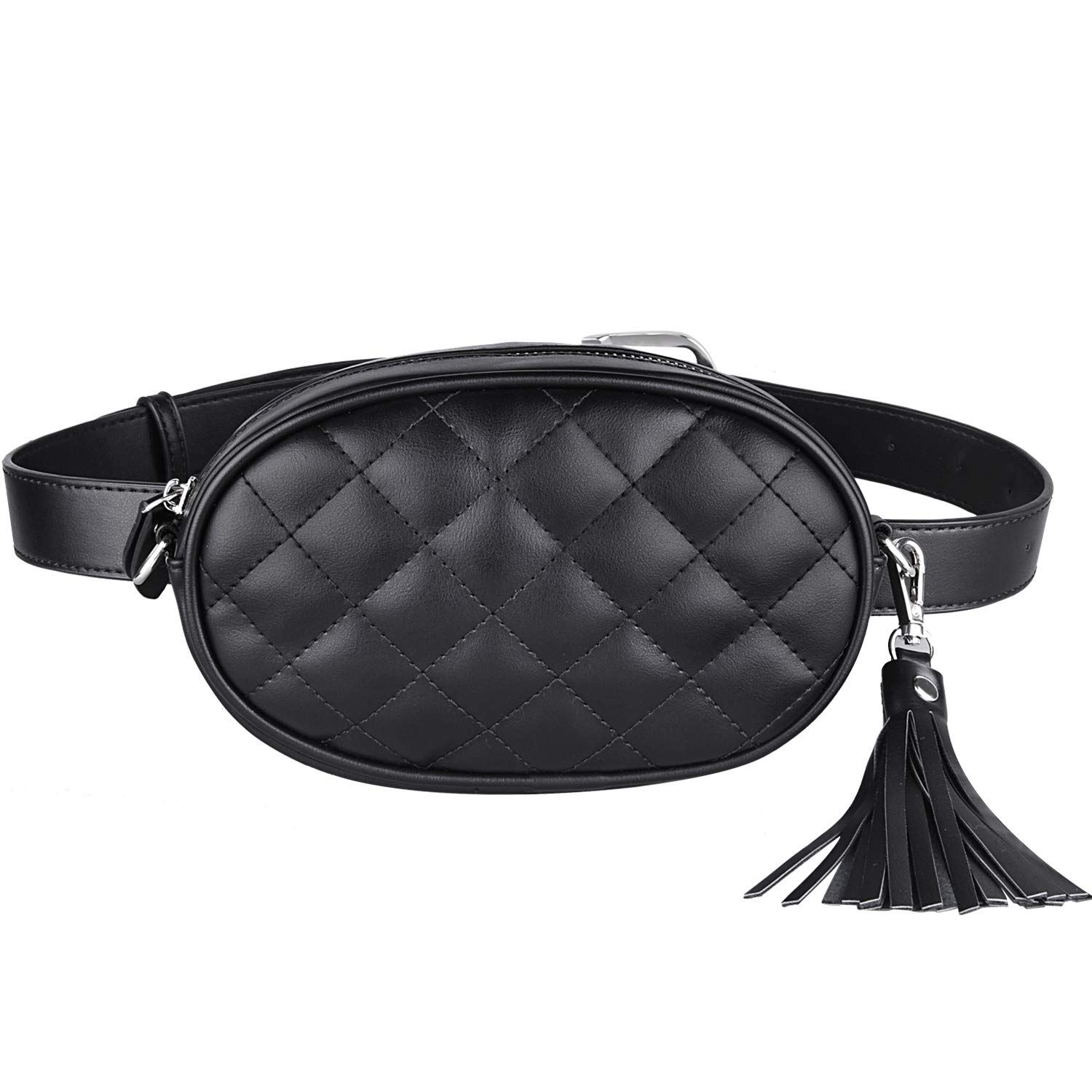 Duufin Women Fanny Pack Quilted Leather Waist Bag Tassel Bag Travel Cell Phone Bum Bag With Two Belts