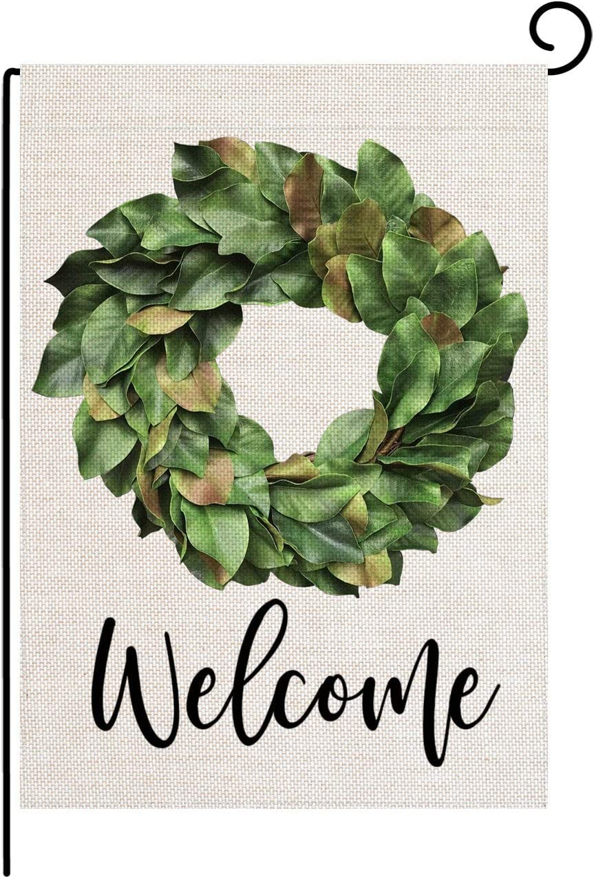 pingpi Welcome Magnolia Leaves Wreath Small Garden Flag Vertical Double Sided 12.5 x 18 Inch Farmhouse Summer Burlap Yard Outdoor Decor