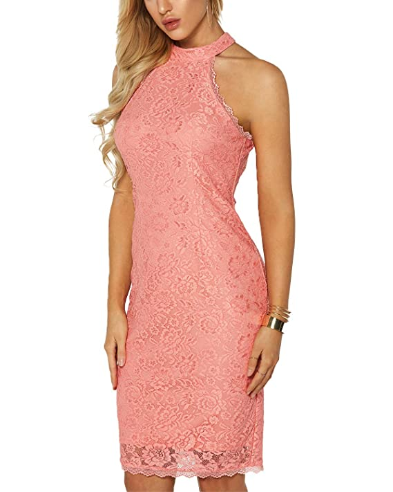 YOINS Women Dress Sexy Bodycon Crochet Lace Wrap Front Long Sleeves Mini Dress Pink# XS