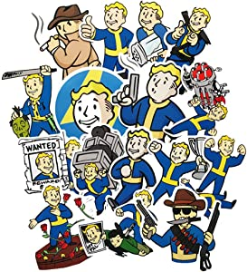 Fallout 4 Games Stickers for Water Bottles 29Pcs Cute,Waterproof,Aesthetic,Trendy Stickers for Teens,Girls Perfect for Waterbottle,Laptop,Phone,Travel Extra Durable Vinyl