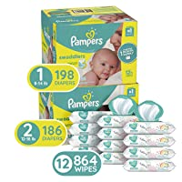 Deals on Pampers Baby Diapers Size 1 198ct + Size 2 186ct + 864ct Wipes