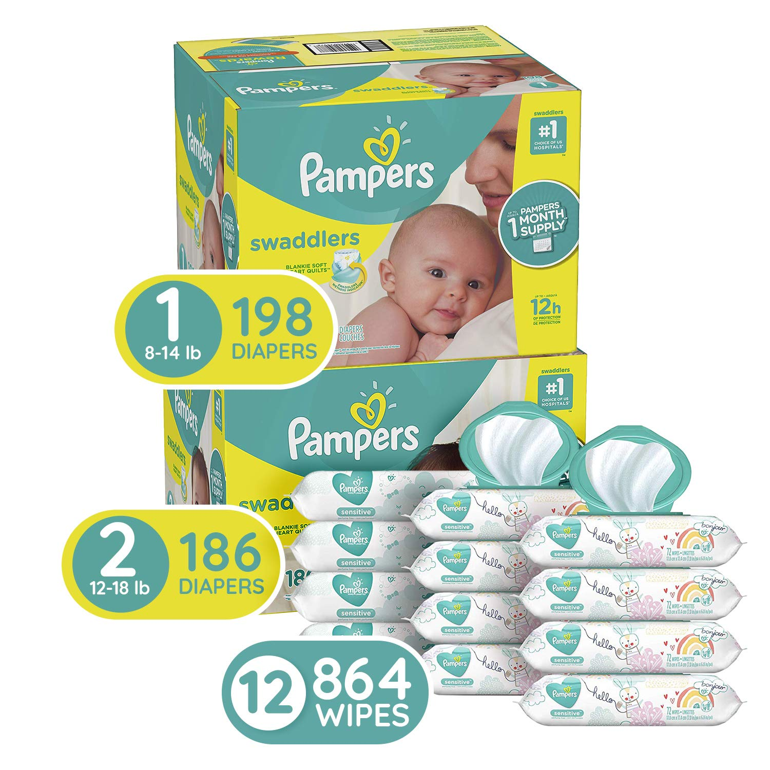 Pampers Baby Diapers and Wipes Starter Kit (2 Month Supply)  - Swaddlers Disposable Baby Diapers Sizes 1 (198 Count) & 2, (186 Count) with Pampers Sensitive Water-Based Baby Wipes, 864 Count by Pampers