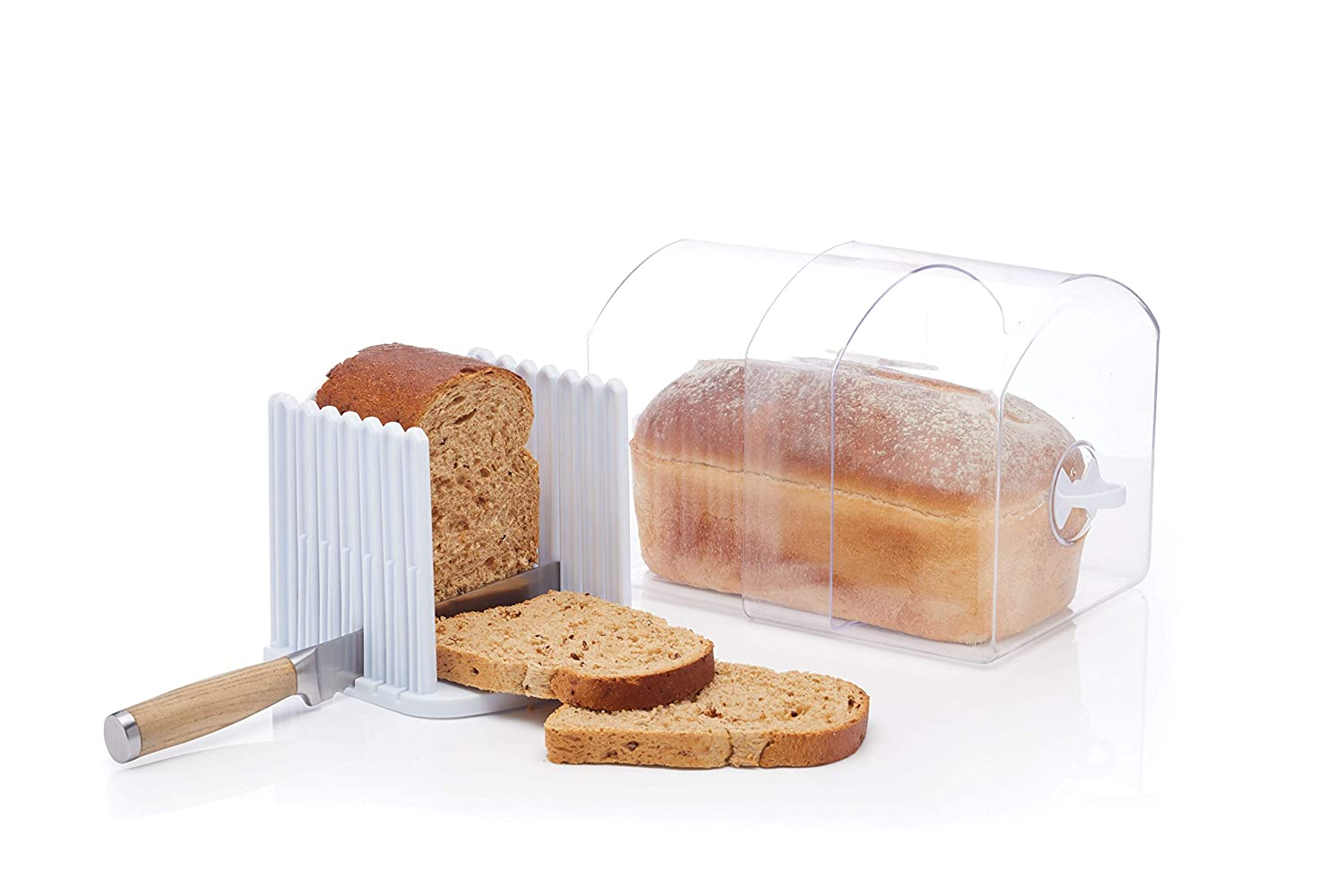 Kitchen Craft Stay Fresh Expanding Bread Keeper  Bread Bin with Bread Slicer Guide Plastic  Large