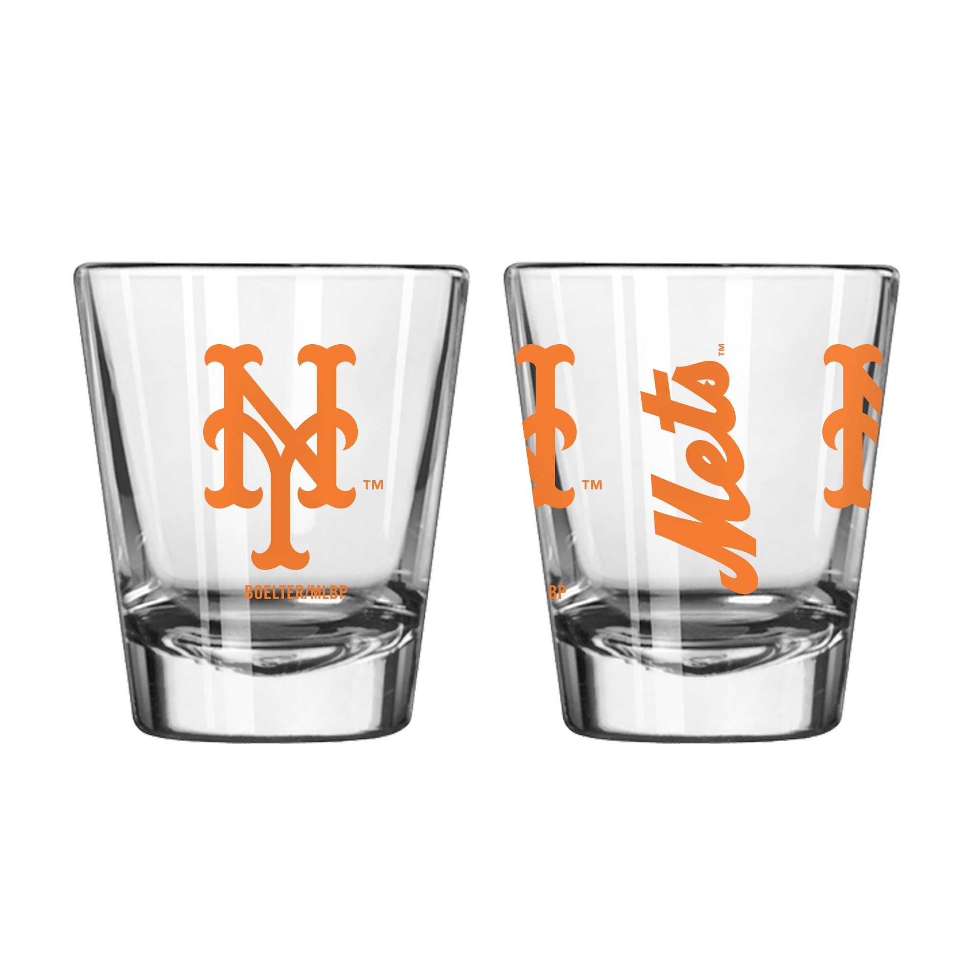 Official Fan Shop Authentic MLB Logo 2 oz Shot Glasses 2-Pack Bundle. Show Team Pride at home, your Bar or at the Tailgate. Gameday Shot Glasses for a goodnight (New York Mets)